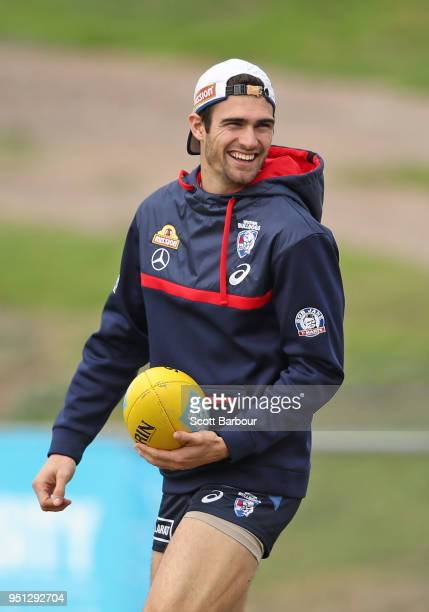 Easton Wood of the Bulldogs looks on during a Western Bulldogs AFL training session at Whitten Oval on April 26, 2018 in Melbourne, Australia.