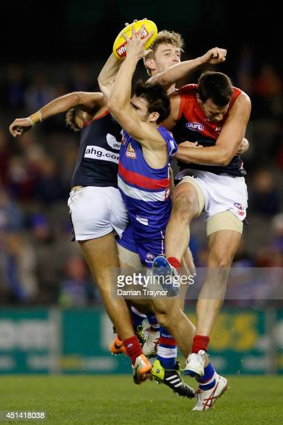 Easton Wood of the Bulldogs marks the ball during the round 15 AFL match between the Western Bulldogs and the Melbourne Demons at Etihad Stadium on...