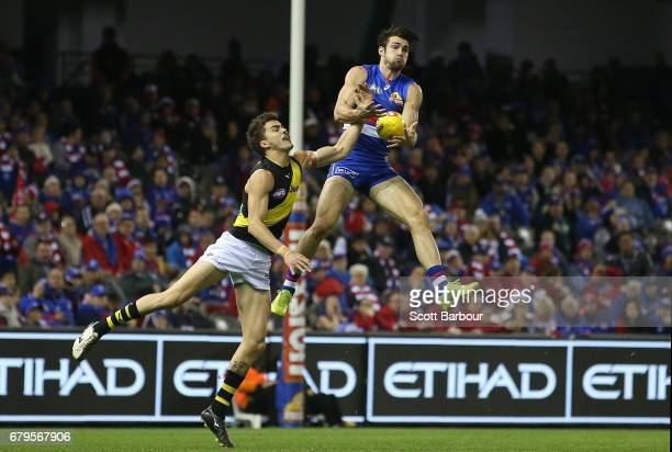 Easton Wood of the Bulldogs marks the ball during the round seven AFL match between the Western Bulldogs and the Richmond Tigers at Etihad Stadium on...