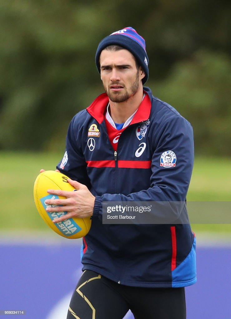 Easton Wood of the Bulldogs runs with the ball during a Western Bulldogs AFL training session at Whitten Oval on May 17, 2018 in Melbourne, Australia.