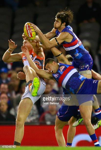 Easton Wood of the Bulldogs takes a mark during the round nine AFL match between the Western Bulldogs and the Greater Western Sydney Giants at Etihad...