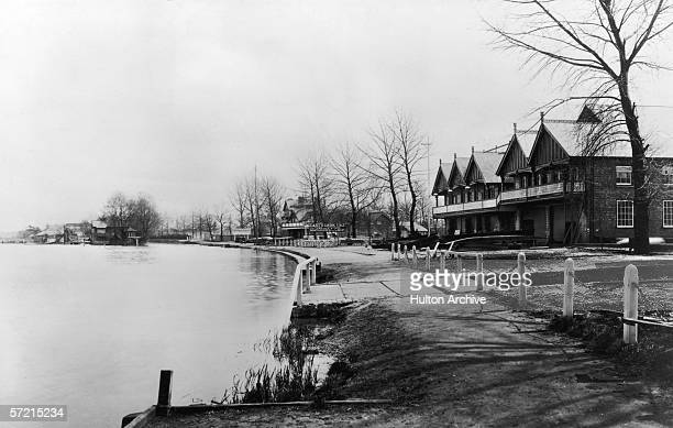 East's Boathouse on the banks of the Thames at reading in Berkshire circa 1925