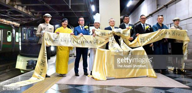 JR East's luxury sleeper 'Train Suite ShikiShima' launching ceremony at Ueno Station on May 1 2017 in Tokyo Japan