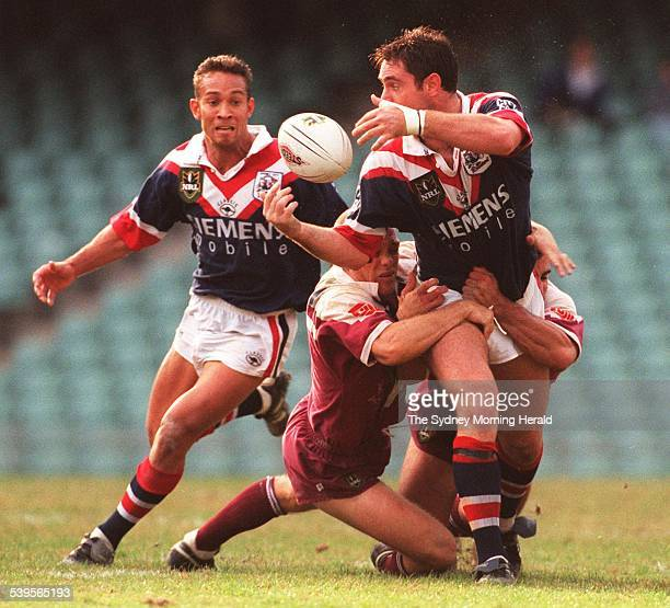 Easts v Manly Brad Fittler gets his pass out to Adrian Lam to set up Matt Sing's second try for Easts 17 May 1998 SMH Picture by TIM CLAYTON