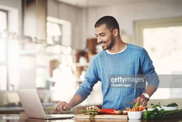 easy access to tons of cool recipes - low carb diet stock photos and pictures