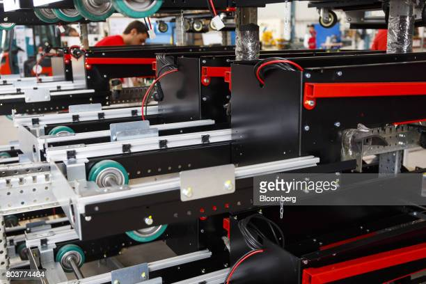 'Easybot' mobile robot chassis also known as an AGV or automated guided vehicle sit on the production line inside the Automatismos y Sistemas de...