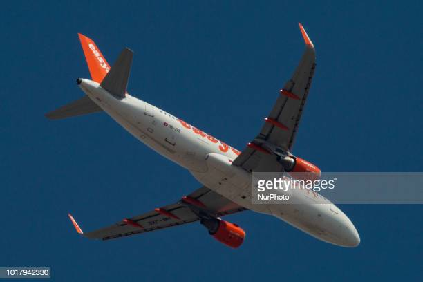 easyJet Airbus A320 is descenting for landing in the Greek blue sky The flight operated is from Basel BSL Switzerland to Thessaloniki SKG Greece with...