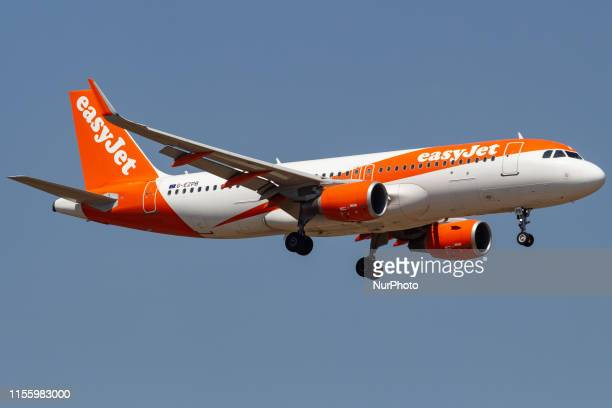 easyJet Airbus A320200 aircraft with registration GEZPB landing at the Greek capital Athens at Eleftherios Venizelos International Airport AIA ATH /...