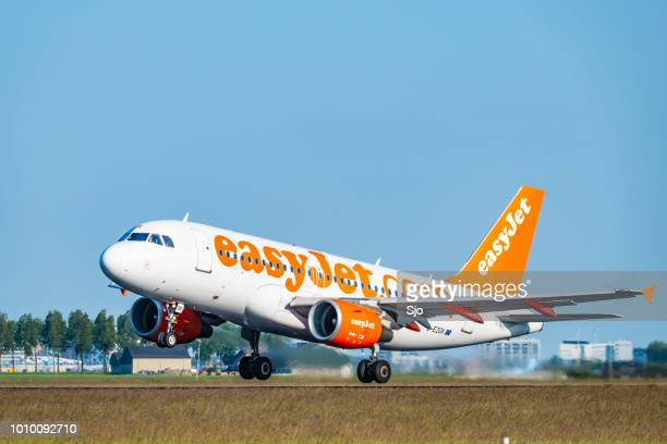 EasyJet Airbus taking off from Amsterdam Airport Schiphol