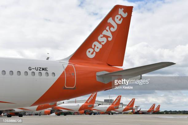 Easyjet aircraft parked at London Southend Airport on July 1, 2020 in Southend-on-Sea, England.