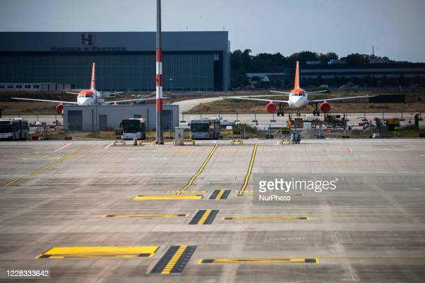 Easyjet airplanes are seen at Berlin Brandenburg Airport 'Willy Brandt' during a test run ahead of its opening, planned for October 31, in...