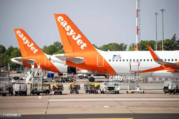 Easyjet airplanes are seen at Berlin's airport in Schoenefeld Germany on on May 8 2019