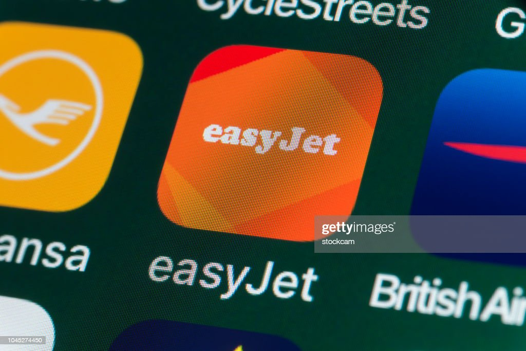 easyJet, Lufthansa, British Airways and other Apps on iPhone screen : Stock Photo