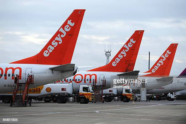 Easyjet planes parked at Luton Airport near Luton UK on Sunday Nov 16 2008 EasyJet Plc Europe's secondbiggest discount airline said fullyear profit...