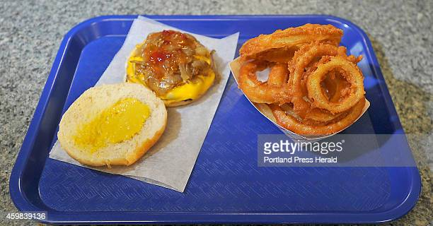 Eat and Run features at Harmon's Lunch This is the loaded double cheeseburger and large onion rings