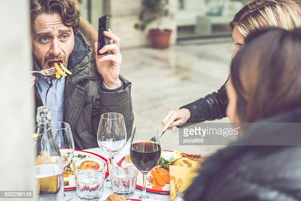 Eat or talk