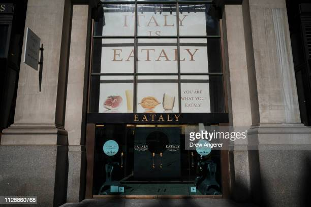 Eataly a 50000 squarefoot emporium devoted to the food and culinary traditions of Italy stands in the Flatiron District March 6 2019 in New York City...