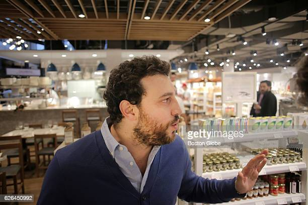 Eataly CEO Nicola Farinetti speaks to a reporter at Eataly in the Prudential Center in Boston on Nov. 29, 2016. The Italian food court and market is...