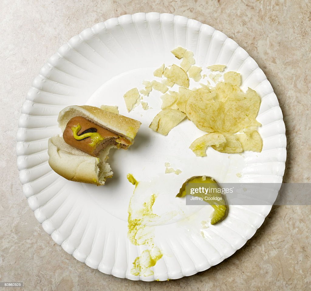 eaten hot dog on paper plate : Stock Photo