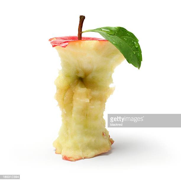 eaten red apple - core stock pictures, royalty-free photos & images