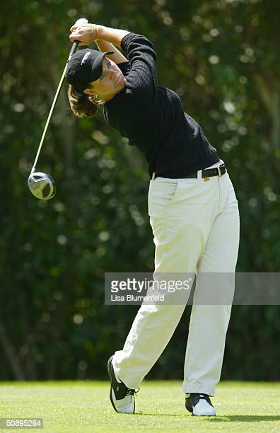 J Eathorne hits a shot during the first round of the Office Depot Championship on April 2 2004 at the El Caballero Country Club in Tarzana California
