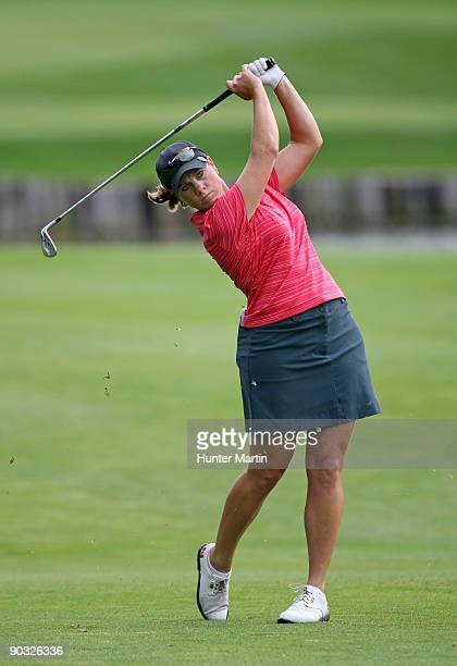 J Eathorne hits her third shot on the ninth hole during the first round of the Canadian Women's Open at Priddis Greens Golf Country Club on September...