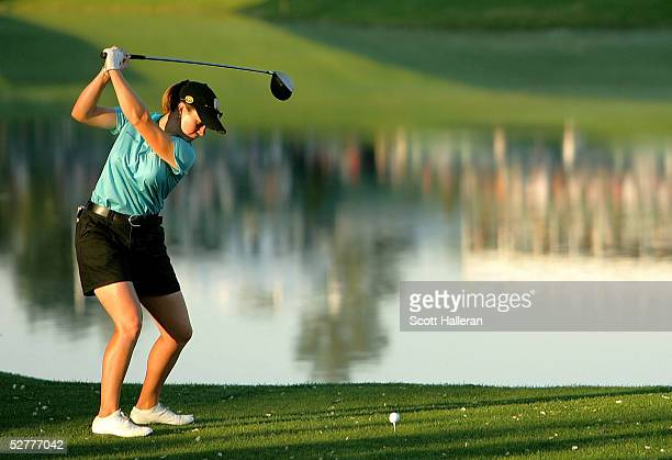 J Eathorne of Canada hits her tee shot on the 18th hole during the final day of the Michelob Ultra Open at the Kingsmill Resort on May 8 2005 in...