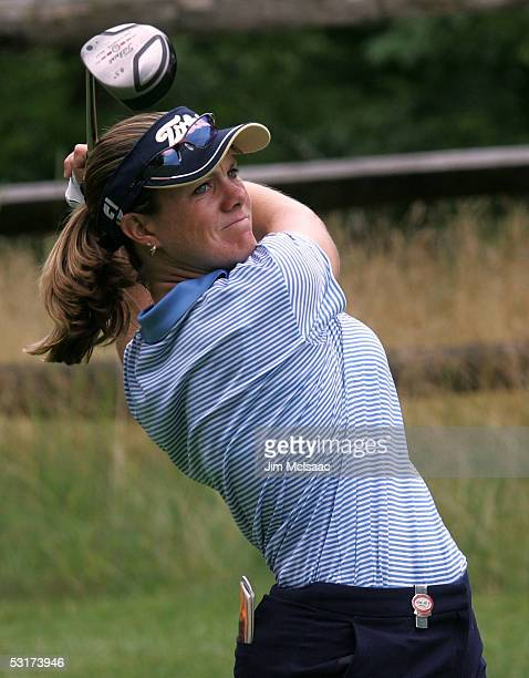J Eathorne of Canada hits her tee shot on the fourth hole during her match against Catriona Matthew of Scotland in the first round of the HSBC...
