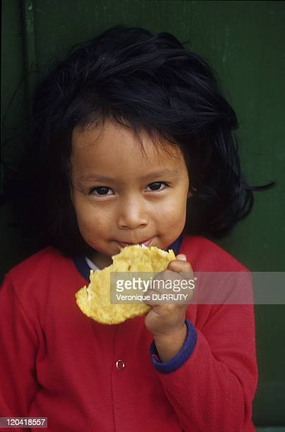 Eating a Corn Arepa in San Agustin Colombia