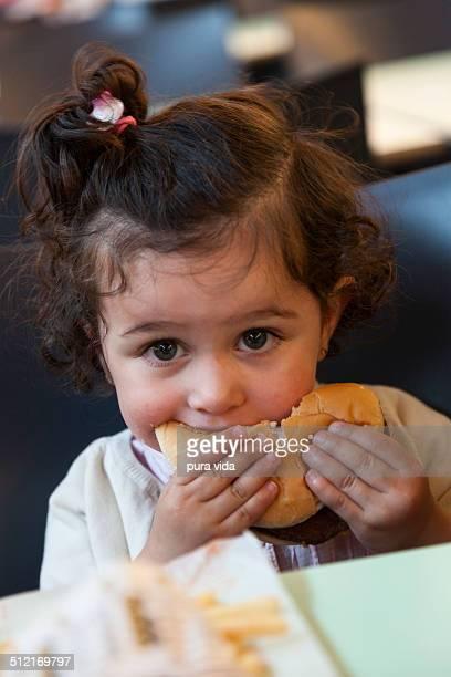 Eating a hamburger