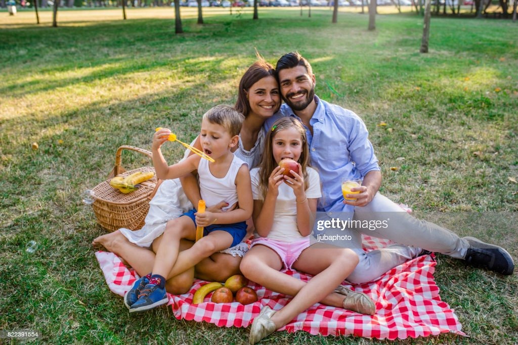 Eating Apples on a Picnic : Stock Photo