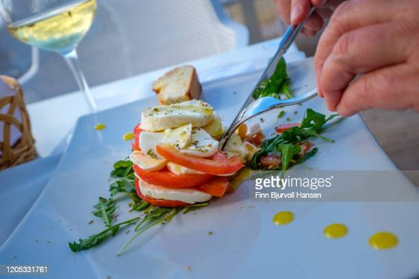 eating caprese salad with tomato and mozzarella cheese - finn bjurvoll - fotografias e filmes do acervo