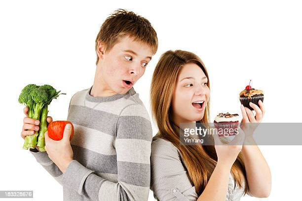 Eating Healthy Diet or Unhealthy Food on a White Background