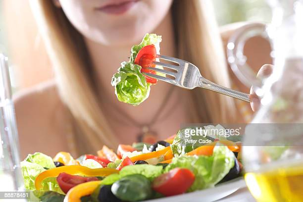 eating healthy food - salad stock pictures, royalty-free photos & images