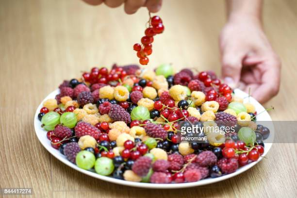 Eating healthy food, Summer berry fruits On White Plate