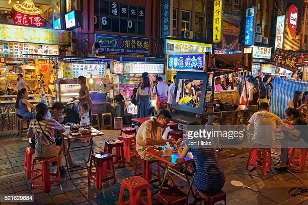 Eating out at Ningxia Night Market, Taipei, Taiwan.