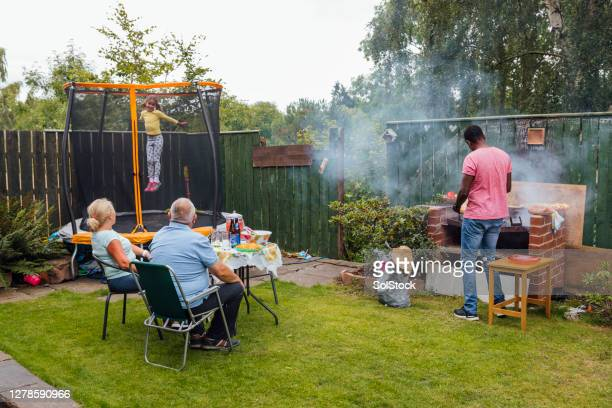 eating outdoors in summer - domestic garden stock pictures, royalty-free photos & images