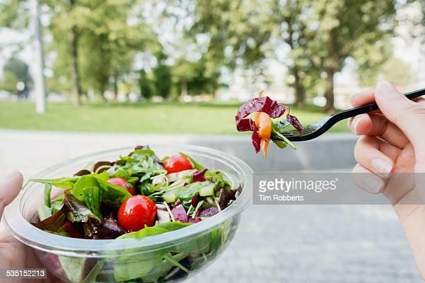 POV Eating salad.