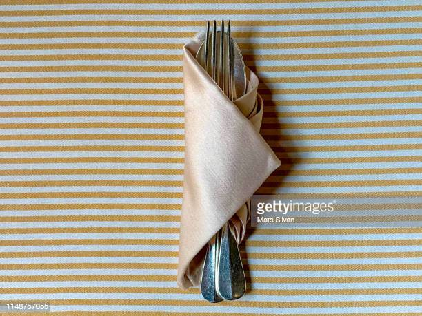 eating utensils rolled in a napkin on striped table - テーブルナプキン ストックフォトと画像