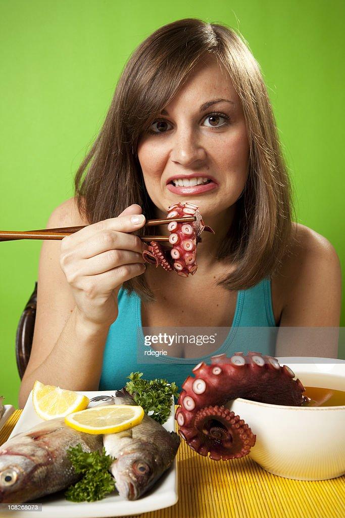 Eating Very Raw Sushi : Stock Photo