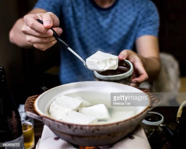 Eating Yudofu (Hot Water Tofu)