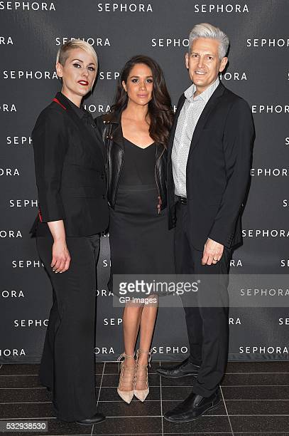 Eaton Centre Store Director Reagan Williams Meghan Markle and General Manager Terry Rowe attend Sephora Unveils Toronto Eaton Centre Remodel at...