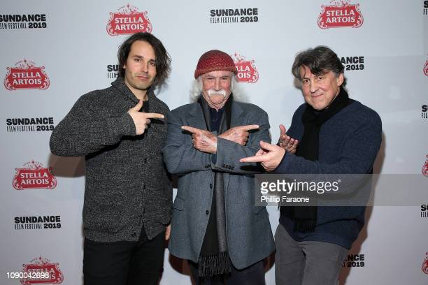 AJ Eaton David Crosby and Cameron Crowe attend the David Crosby Remember My Name celebration at Stella's Film Lounge during the 2019 Sundance Film...