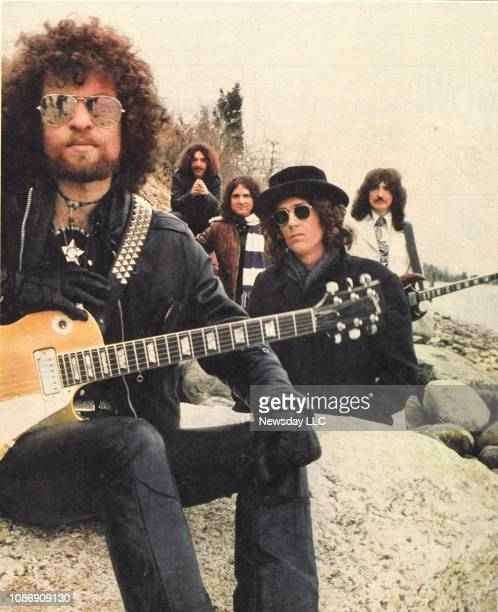 Eaton's Neck NY Members of the rock group Blue Oyster Cult sit on the shore of Eaton's Neck New York in this March 1973 photo From left to right Eric...