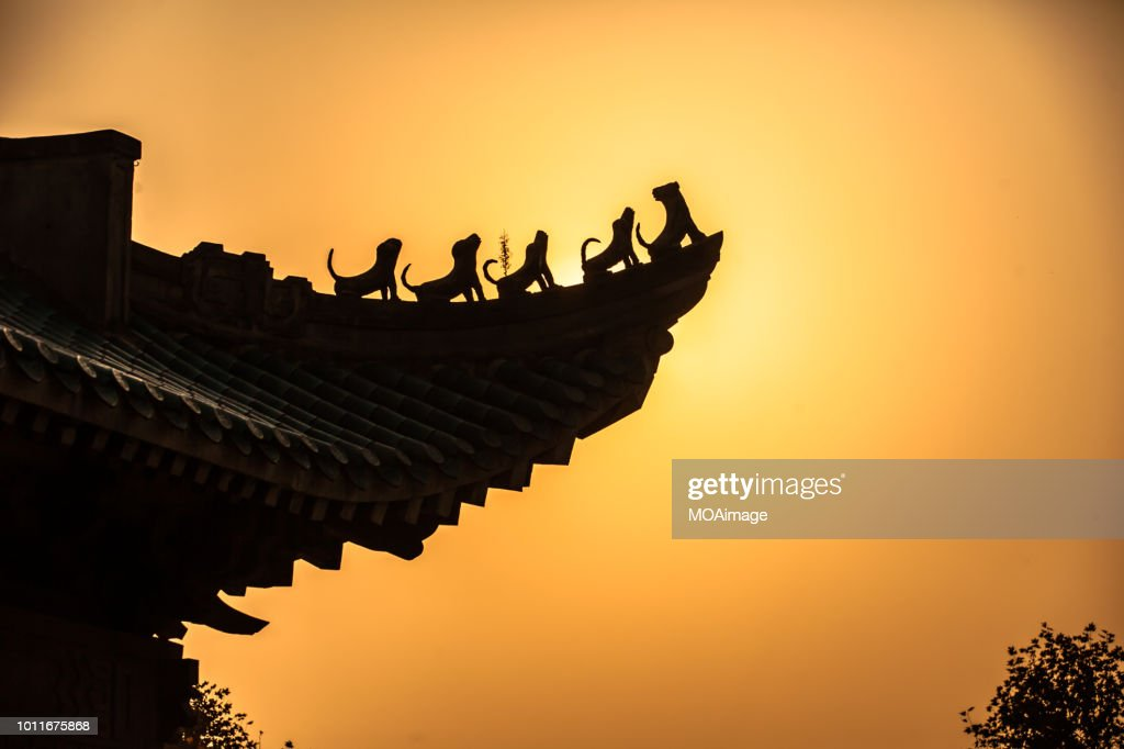 Eaves of ancient Chinese buildings,Wuhan,China : Stock Photo