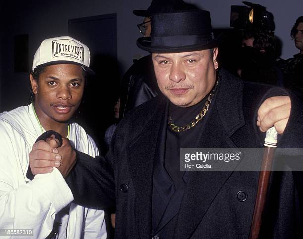 Eazy E of NWA and Kid Frost attend Los Angeles Music Awards on February 19 1992 at the Santa Monica Civic Auditorium in Santa Monica California