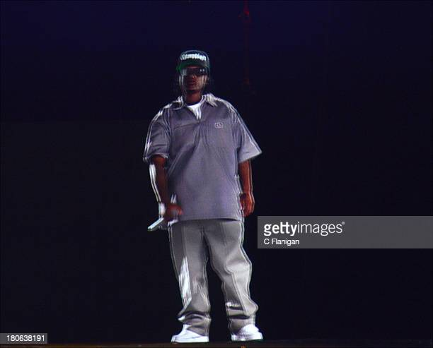 EazyE of NWA performs as a hologram during the 2013 Rock the Bells Music Festival at Shoreline Amphitheatre on September 14 2013 in Mountain View...