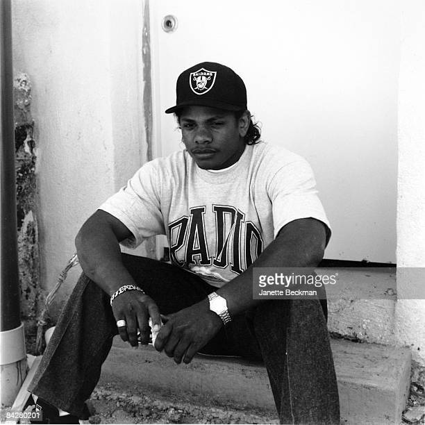 EazyE of the rap group NWA sits for an outdoor portrait in Torrance CA 1989