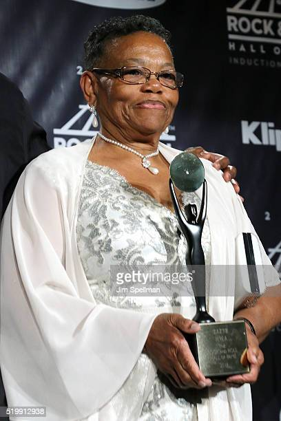 EazyE's Mother Katie Wright poses in the press room at the 31st Annual Rock And Roll Hall Of Fame Induction Ceremony at Barclays Center of Brooklyn...
