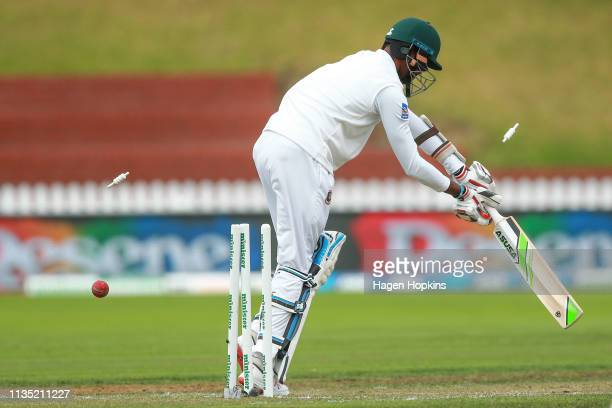 Ebadat Hossain of Bangladesh is bowled by Neil Wagner of New Zealand during day five of the second test match in the series between New Zealand and...